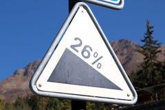 Verbier, Szwajcaria/: 9 9 18: Szyldowy deskowy drogowy skłonu ostrzeżenia panel zdjęcie stock