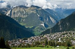 Verbier view. Verbier town on sunny day in swiss alps Royalty Free Stock Photography