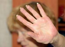 Verbieten des Handzeichens Stockfoto