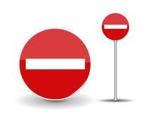 Verbieten Reise-des runden roten Verkehrsschildes mit weißem Streifen Vektor stock abbildung