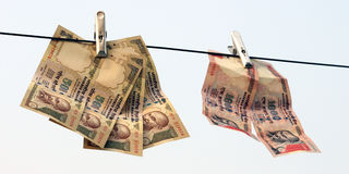 Verbieten Sie auf Rs 500, Rs, das 1000 Anmerkungen chirurgischer Streik auf Terrorfinanzierung ist, Schwarzgeld Stockfoto