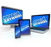 Verbind Computerlaptop overal de Slimme Tablet Devi van de Telefoondesktop Royalty-vrije Stock Foto's