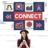 Verbind Concept van de Muziek het Digitale Audiotechnologie stock foto