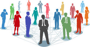 Verbind de aanslutingen van het bedrijfsmensennetwerk Stock Foto's