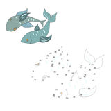 Verbind de de vissen vectorillustratie van het puntenspel royalty-vrije illustratie