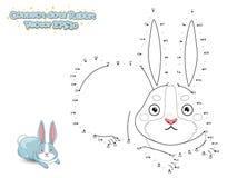 Verbind de Punten en trek Leuk Beeldverhaalkonijn Onderwijs spel stock illustratie