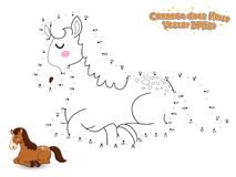 Verbind de Punten en trek Leuk Beeldverhaalpaard Onderwijsspel F royalty-vrije illustratie