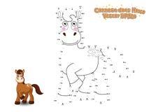 Verbind de Punten en trek Leuk Beeldverhaalpaard Onderwijsspel F vector illustratie