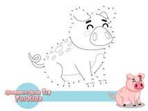 Verbind de Punten en trek Leuk Beeldverhaalvarken Onderwijsspel voor jonge geitjes Vectorillustratie met het Grappige Dier van de royalty-vrije stock foto