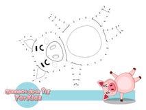 Verbind de Punten en trek Leuk Beeldverhaalvarken Onderwijsspel voor jonge geitjes Vectorillustratie met het Grappige Dier van de stock afbeelding