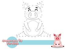 Verbind de Punten en trek Leuk Beeldverhaalvarken Onderwijsspel voor jonge geitjes Vectorillustratie met het Grappige Dier van de royalty-vrije stock afbeelding