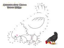 Verbind de Punten en trek Leuke Beeldverhaalkip Onderwijs spel stock illustratie