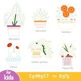 Verbind de punten, onderwijsspel voor kinderen Reeks houseplants royalty-vrije illustratie