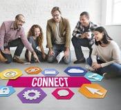 Verbind het Grafische Concept van het Mensennetwerk stock fotografie