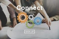 Verbind Interactie Team Teamwork Concept stock afbeelding