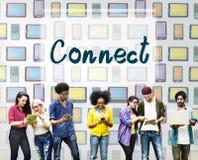 Verbind op elkaar inwerken Communicatie Sociaal Media Concept stock afbeeldingen