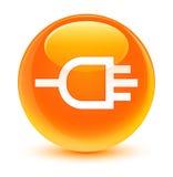 Verbind pictogram glazige oranje ronde knoop Royalty-vrije Stock Afbeeldingen
