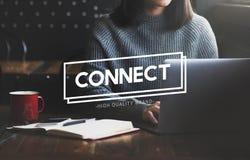 Verbind Sociaal Communicatie van de Voorzien van een netwerkinterconnectie Concept stock foto