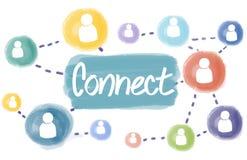 Verbind Sociaal Communicatie van de Voorzien van een netwerkinterconnectie Concept Stock Fotografie