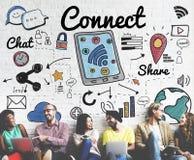 Verbind Sociaal Media Sociaal Voorzien van een netwerkconcept stock foto's