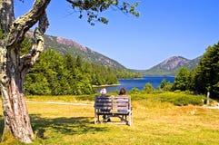 Verbinden Sie übersehenden szenischen See Stockfoto