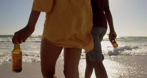 Verbinden Sie auf den Strand 4k zusammen gehen stock video