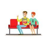 Verbinden Sie das Aufpassen eines Films mit Popcorn und 3D Gläsern, Teil glückliche Menschen in den Film-Theater-Reihen Lizenzfreies Stockfoto
