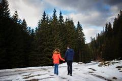 Verbinden Sie das Gehen hinunter einen schneebedeckten Weg im Wald Stockbilder