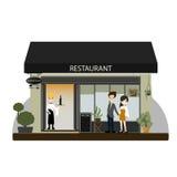 Verbinden Sie das Kostüm, das zum Abendessen am Restaurant, Vektor/Illustration geht Lizenzfreies Stockfoto