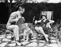 Verbinden Sie das Sitzen im Hinterhof, der mit einem Hund zwischen ihnen spricht (alle dargestellten Personen sind nicht längeres Stockfoto