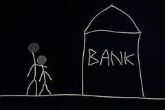 Verbinden Sie das Suchen nach der Finanzhilfe und gehen ein Bankkonto zu haben, das Geldkonzept, ungewöhnlich Stockfotografie