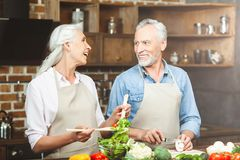 Verbinden Sie die Zubereitung der Nahrung an der Küche stockfotos