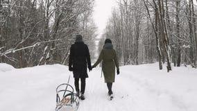 Verbinden Sie Händchenhalten und am Wintertag weg gehen Langsame Bewegung stock video footage