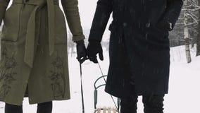 Verbinden Sie Händchenhalten und am Wintertag weg gehen Langsame Bewegung stock video