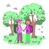 Verbinden Sie Mann und Frau mit den Rucksäcken, die an eco Tourismus teilnehmen Lizenzfreie Stockfotografie