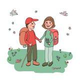 Verbinden Sie Mann und Frau mit den Rucksäcken, die an eco Tourismus teilnehmen Stockbild