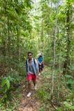 Verbinden Sie mit Rucksack-Trekking auf Forest Path, junger Mann-und Frauen-Händchenhalten-Weg auf Wanderungs-Touristen stockbilder