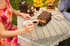 Verbinden Sie trinkenden Tee im Park unter einem Baum Stockfotografie