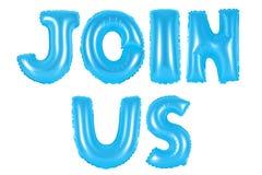 Verbinden Sie uns, blaue Farbe Lizenzfreies Stockfoto