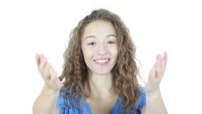 Verbinden Sie uns, Einladungs-Geste durch Frau und einladen, weißer Hintergrund, Junge, stock footage
