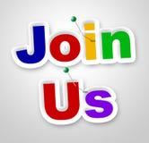 Verbinden Sie uns, stellt Zeichen das on-line Mitglied und das Registrieren dar vektor abbildung