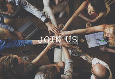 Verbinden Sie uns Verbindungsmitgliedschaft teilnehmen Konzept lizenzfreie stockbilder