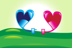 Verbindende harten. Stock Afbeelding