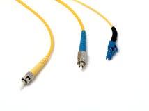 Verbinder des optischen Seilzuges: FC, LC, TC. Stockfotos