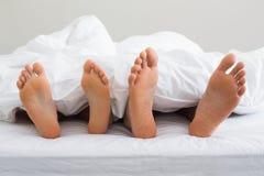 Verbindet die Füße, die heraus von unterhalb der Daunendecke haften Stockbilder