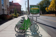 Verbinding Dayton Bike Share door UD in Ochtendlicht Stock Foto