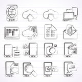 Verbinding, mededeling en mobiele telefoonpictogrammen Stock Foto's