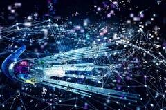 Verbinding met de optische vezel Concept snel Internet 3d geef terug Stock Afbeeldingen
