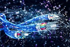 Verbinding met de optische vezel Concept snel Internet 3d geef terug Royalty-vrije Stock Fotografie