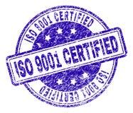 Verbinding van de Grunge de Geweven ISO 9001 VERKLAARDE Zegel stock illustratie